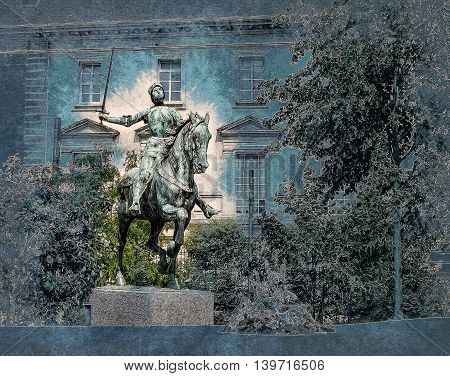 Jeanne d'Arc monument in Reims near cathedral. Vintage painting,  illustration travel texture