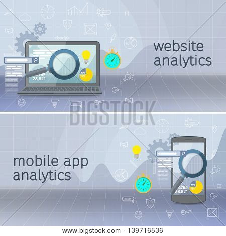 Website analytics search information and computing data analysis using modern electronic and mobile devices. Database research web banner. SEO data analysis concept. Black laptop and phone.