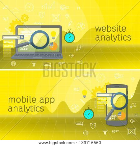 Website analytics search information and computing data analysis using modern electronic and mobile devices. Web search analysis. SEO data analysis concept. Black laptop and phone.