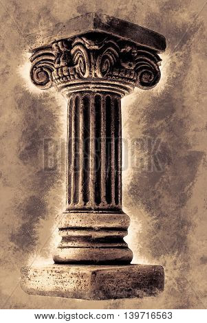 Ionic column on white background. Vintage painting, background illustration, adstract texture