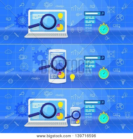 Database research web banner. Website analytics search information and computing data analysis using modern electronic and mobile devices. SEO data analysis concept. White laptop and phone