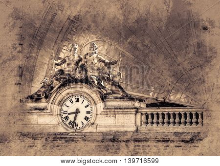 Clock on the facade of Gare de l'Est Eastern railway station , Paris, France. Vintage painting, background illustration, beautiful picture, travel texture