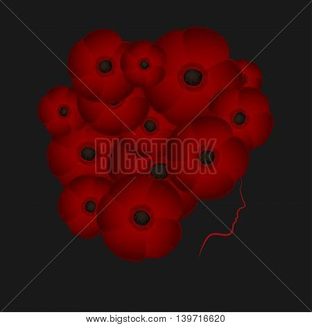 Profile of a girl or woman with hair in the shape of flowers poppies on a dark background