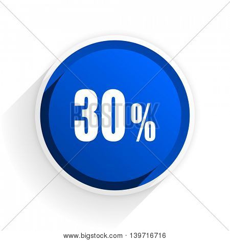 30 percent flat icon with shadow on white background, blue modern design web element
