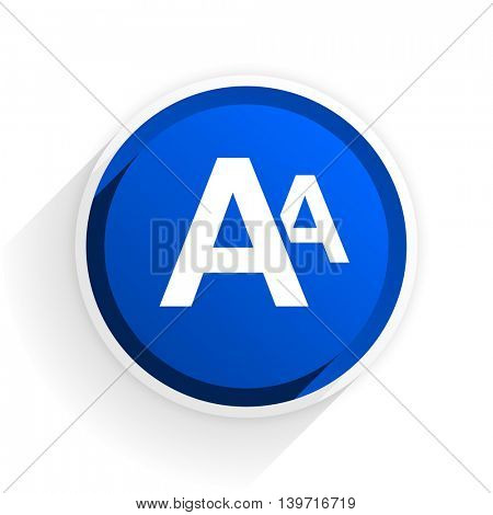 alphabet flat icon with shadow on white background, blue modern design web element
