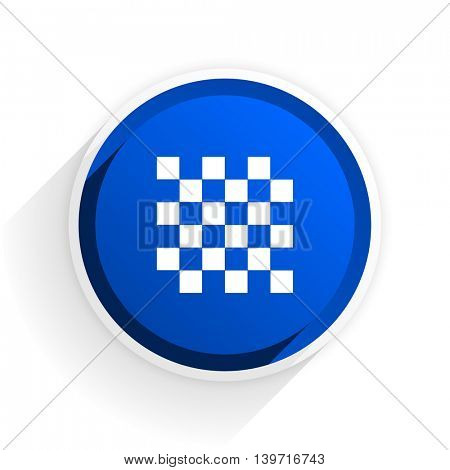 chess flat icon with shadow on white background, blue modern design web element