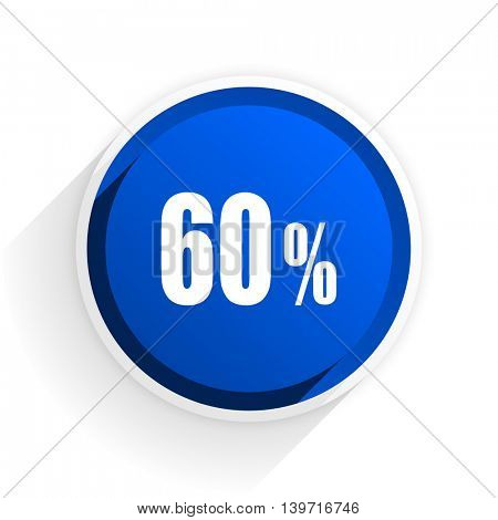 60 percent flat icon with shadow on white background, blue modern design web element