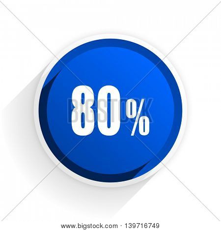 80 percent flat icon with shadow on white background, blue modern design web element