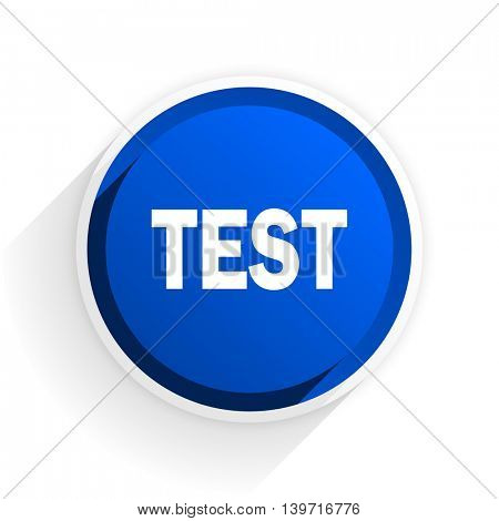 test flat icon with shadow on white background, blue modern design web element