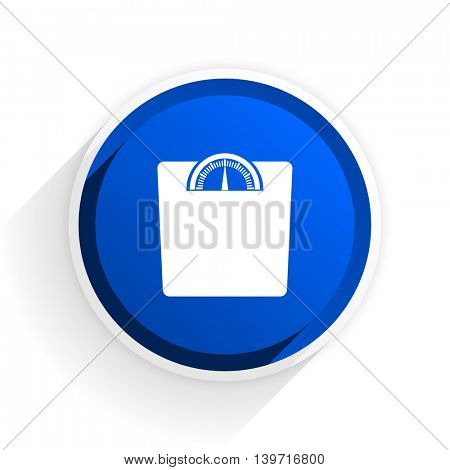 weight flat icon with shadow on white background, blue modern design web element