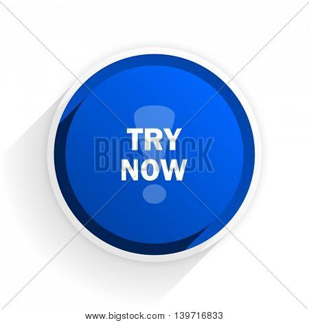 try now flat icon with shadow on white background, blue modern design web element
