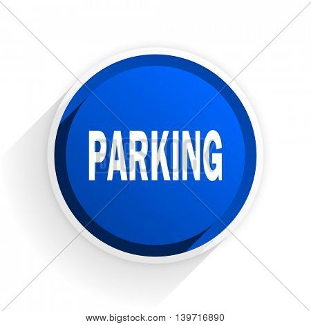 parking flat icon with shadow on white background, blue modern design web element