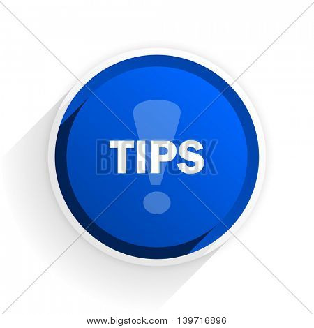 tips flat icon with shadow on white background, blue modern design web element