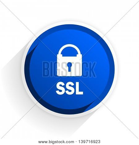 ssl flat icon with shadow on white background, blue modern design web element