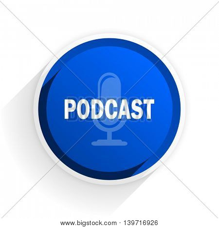 podcast flat icon with shadow on white background, blue modern design web element