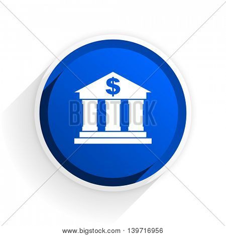 bank flat icon with shadow on white background, blue modern design web element