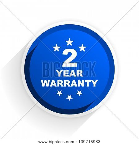 warranty guarantee 2 year flat icon with shadow on white background, blue modern design web element