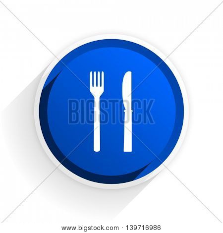 eat flat icon with shadow on white background, blue modern design web element