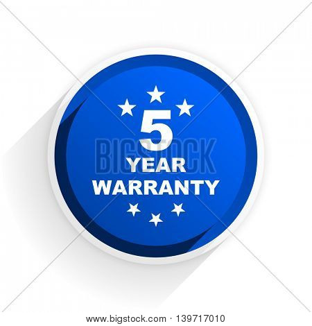 warranty guarantee 5 year flat icon with shadow on white background, blue modern design web element