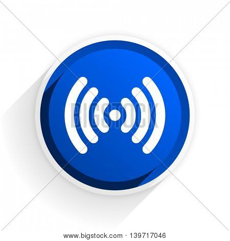 wifi flat icon with shadow on white background, blue modern design web element
