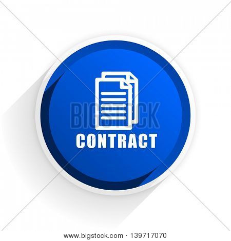 contract flat icon with shadow on white background, blue modern design web element