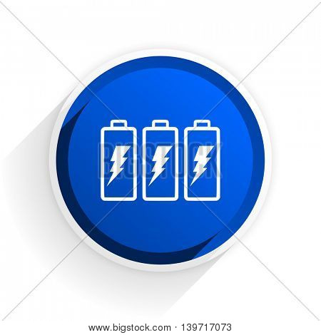 battery flat icon with shadow on white background, blue modern design web element