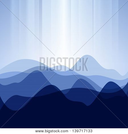 Creative Blue Background from Waves or Mountains ,Abstract Background
