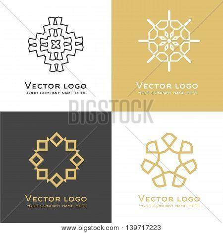 Set of vector abstract geometric logo. Sacred geometry icon. Identity design.