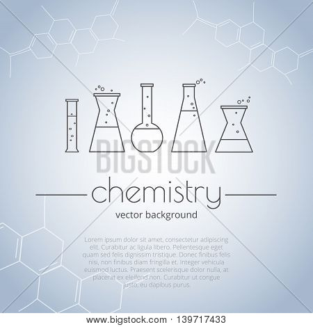 Illustration of chemical flasks in lineart style. Abstract background with molecular structures. Vector template for cover or website.