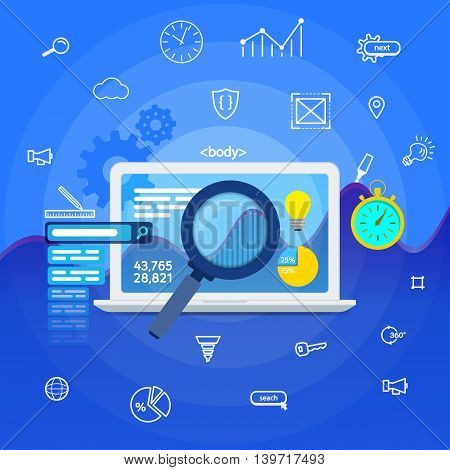 Website analytics search information and computing data analysis using modern electronic mobile devices. Web search analysis database research web banner. SEO data analysis concept. White laptop