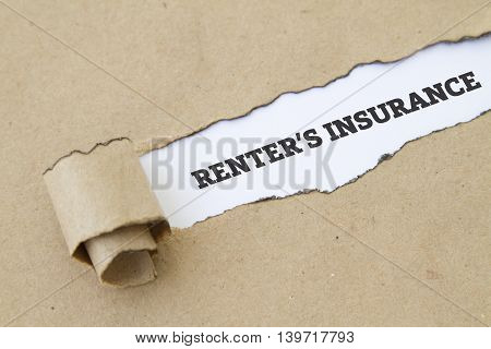RENTER'S INSURANCE word written under torn paper.