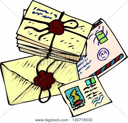 Postal Service. Letters and Postcards. Isolated on a White