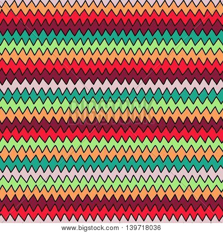 Bright Multicolor Hand Drawn Zig Zag Seamless Backgrownd