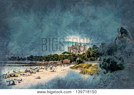 View of the beach of Palma de Mallorca with gorgeous cathedral building. Palma-de-Mallorca, Balearic islands, Spain. Vintage painting, background illustration, beautiful picture, travel texture
