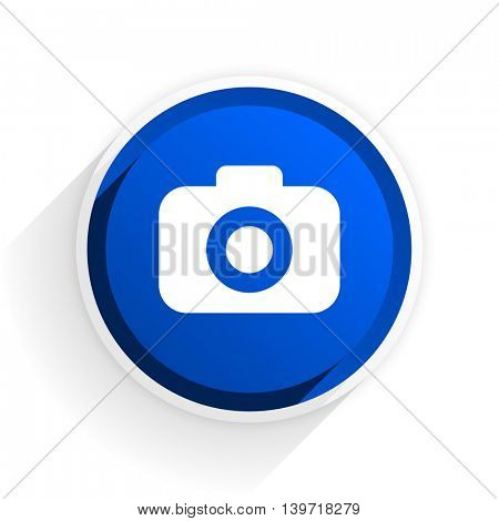 photo camera flat icon with shadow on white background, blue modern design web element