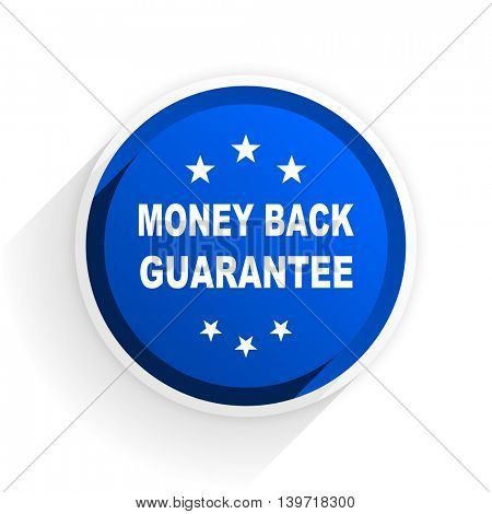money back guarantee flat icon with shadow on white background, blue modern design web element