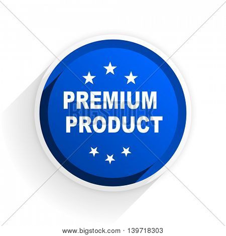 premium product flat icon with shadow on white background, blue modern design web element