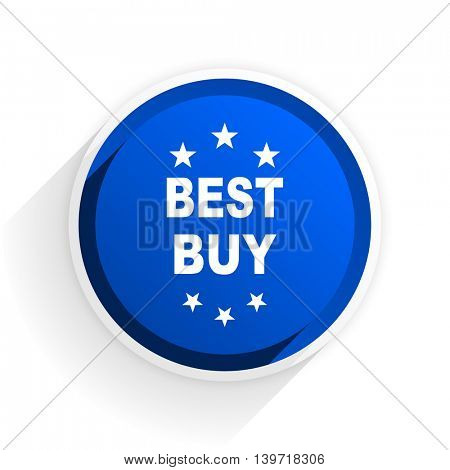 best buy flat icon with shadow on white background, blue modern design web element