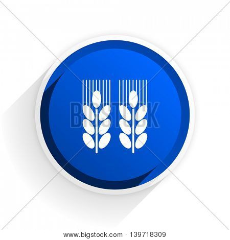 agricultural flat icon with shadow on white background, blue modern design web element