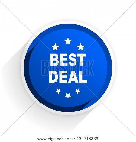 best deal flat icon with shadow on white background, blue modern design web element