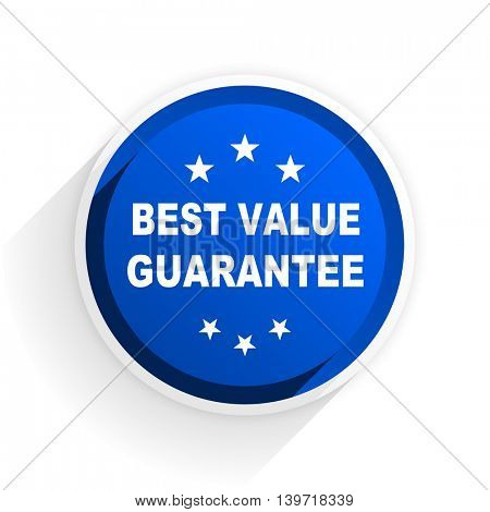 best value guarantee flat icon with shadow on white background, blue modern design web element