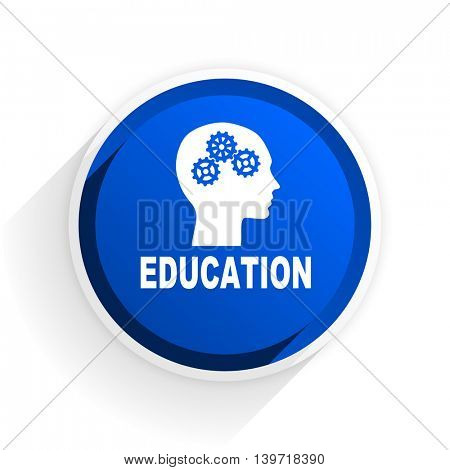education flat icon with shadow on white background, blue modern design web element