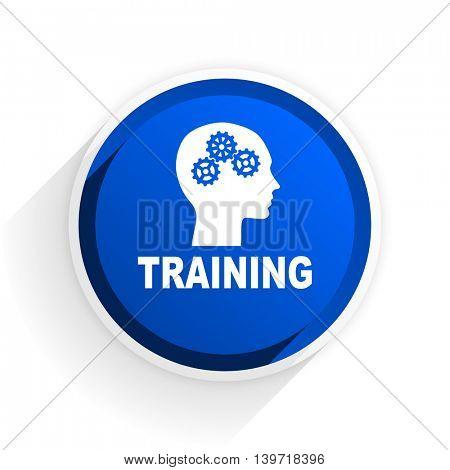 training flat icon with shadow on white background, blue modern design web element