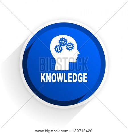 knowledge flat icon with shadow on white background, blue modern design web element