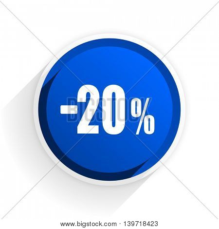 20 percent sale retail flat icon with shadow on white background, blue modern design web element