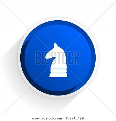 chess horse flat icon with shadow on white background, blue modern design web element