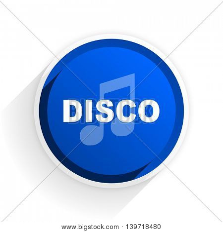 disco music flat icon with shadow on white background, blue modern design web element