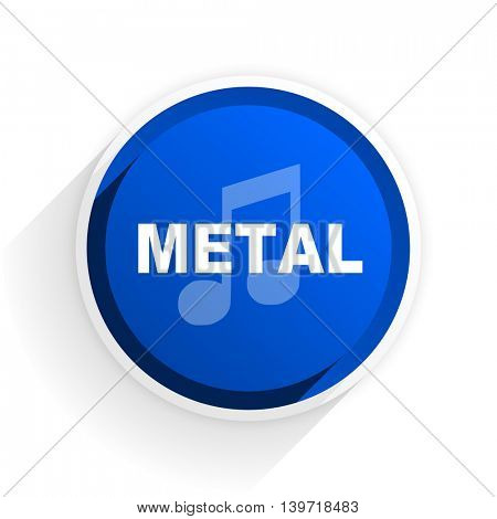 metal music flat icon with shadow on white background, blue modern design web element