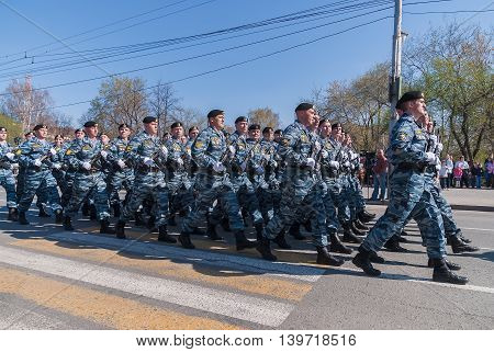 Tyumen, Russia - May 9. 2009: Group of police special troops on parade of Victory Day