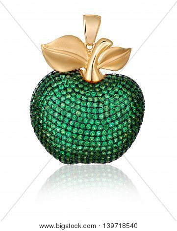 Gold jewelry. Pendant with green gems. Pendant similar to apple.